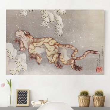 Leinwandbild - Katsushika Hokusai - Tiger in einem Schneesturm - Quer 3:2