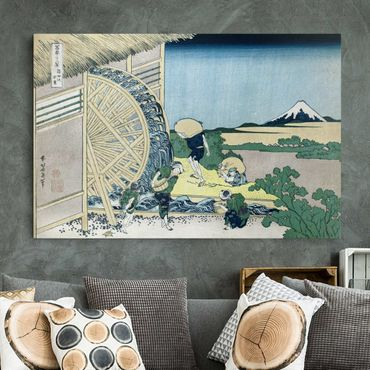 Leinwandbild - Katsushika Hokusai - Wasserrad in Onden - Quer 3:2