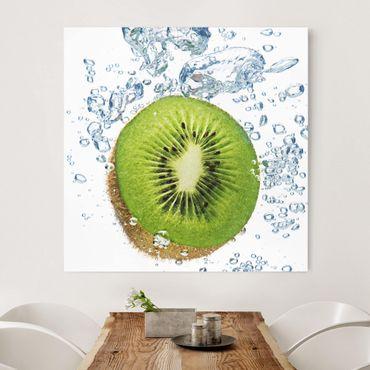 Leinwandbild - Kiwi Bubbles - Quadrat 1:1