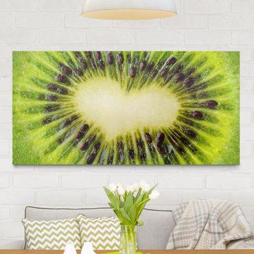 Leinwandbild - Kiwi Heart - Quer 2:1