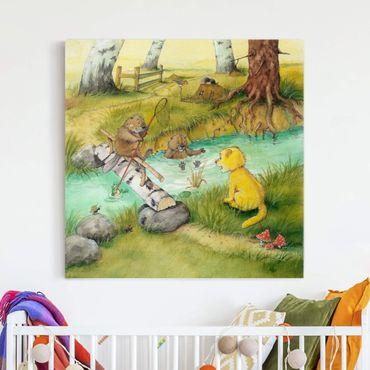 Leinwandbild - Kleiner Tiger - Mit den Bibern - Quadrat 1:1