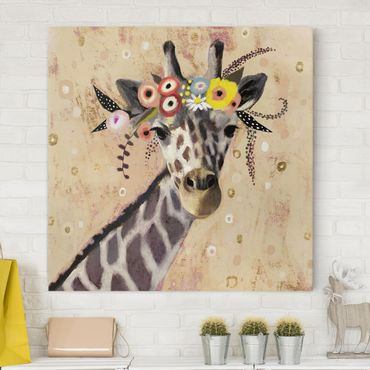 Leinwandbild - Klimt Giraffe - Quadrat 1:1