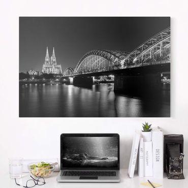 Leinwandbild Schwarz-Weiß - Köln bei Nacht II - Quer 3:2