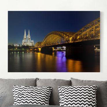 Leinwandbild - Köln bei Nacht - Quer 3:2