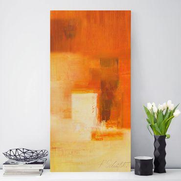 Leinwandbild - Komposition in Orange und Braun 03 - Hochformat 1:2