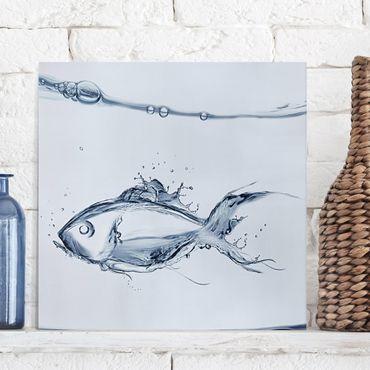 Leinwandbild - Liquid Silver Fish - Quadrat 1:1