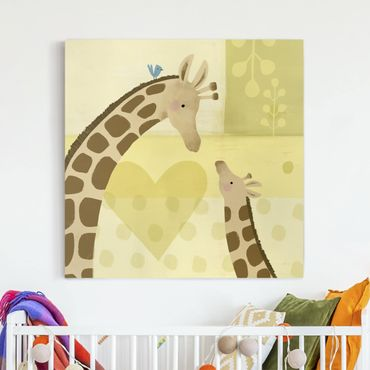 Leinwandbild - Mama und ich - Giraffen - Quadrat 1:1