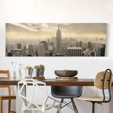 Leinwandbild - Manhattan Dawn - Panorama Quer