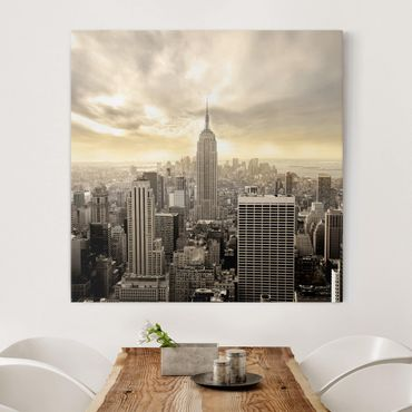 Leinwandbild - Manhattan Dawn - Quadrat 1:1