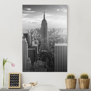 Leinwandbild Schwarz-Weiß - Manhattan Skyline - Hoch 2:3