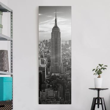 Leinwandbild Schwarz-Weiß - Manhattan Skyline - Panoramabild Hoch