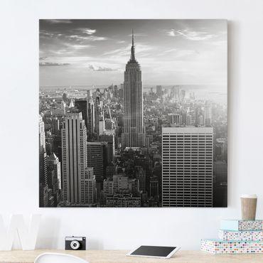 Leinwandbild Schwarz-Weiß - Manhattan Skyline - Quadrat 1:1