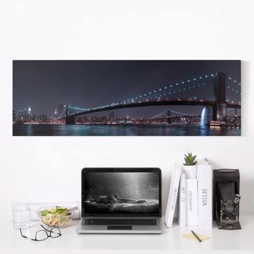 Leinwandbild - Manhattan Skyline und Brooklyn Bridge - Panorama Quer