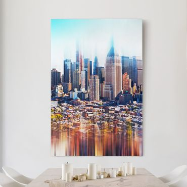 Leinwandbild - Manhattan Skyline Urban Stretch - Hoch 2:3