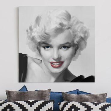 Leinwandbild - Marilyn auf Sofa - Quadrat 1:1