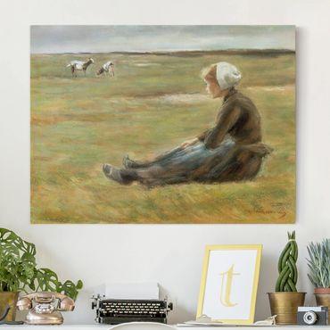 Leinwandbild - Max Liebermann - Die Ziegenhirtin - Quer 4:3