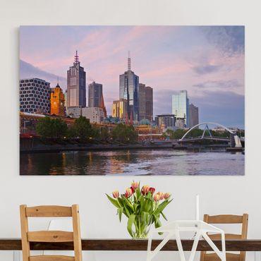 Leinwandbild - Melbourne im Sonnnenuntergang - Quer 3:2