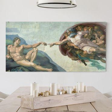 Leinwandbild - Michelangelo - Sixtinischen Kapelle: Die Erschaffung Adams - Quer 2:1