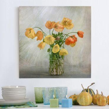Leinwandbild - Mohnblumen in einer Vase - Quadrat 1:1