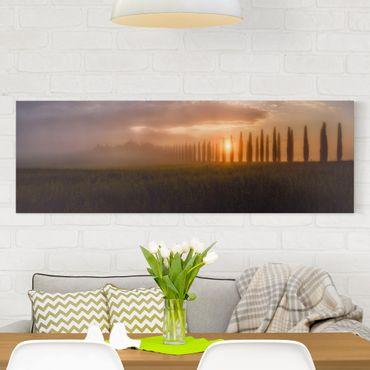 Leinwandbild - Morgendämmerung Toskana - Panorama Quer