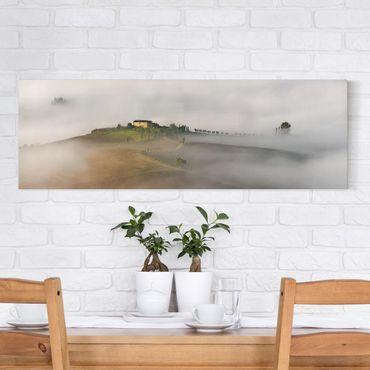 Leinwandbild - Morgennebel in der Toskana - Panorama Quer