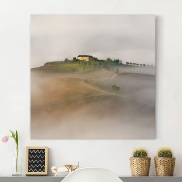 Leinwandbild - Morgennebel in der Toskana - Quadrat 1:1