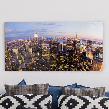 Leinwandbild - New York Skyline bei Nacht - Quer 2:1