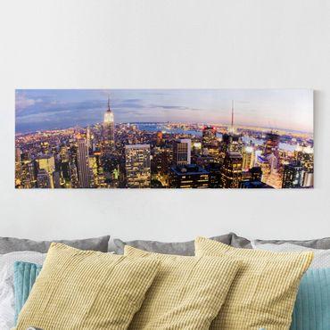 Leinwandbild - New York Skyline bei Nacht - Panorama Quer