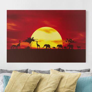 Afrika Leinwandbild No.CG80 Sunset Caravan - Elefanten & Giraffen, Rot, Gelb, Quer 3:2
