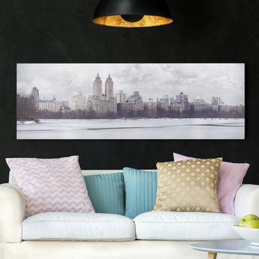 Leinwandbild Schwarz-Weiß - No.YK2 New York im Schnee - Panoramabild Quer