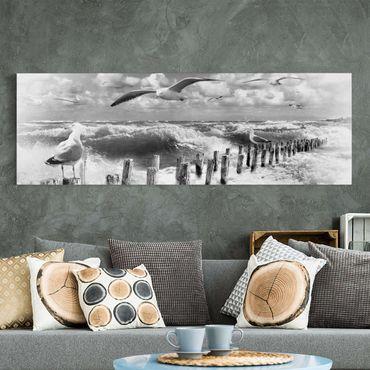 Leinwandbild Schwarz-Weiß - No.YK3 Absolut Sylt II - Panoramabild Quer
