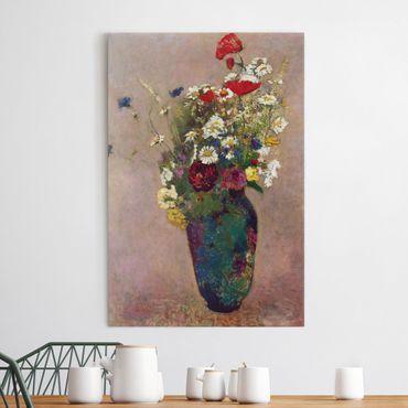 Leinwandbild - Odilon Redon - Blumenvase mit Mohn - Hoch 2:3
