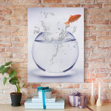 Leinwandbild - One Flying Goldfish - Hoch 3:4