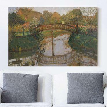 Leinwandbild - Otto Modersohn - Bauerngarten mit Brücke - Quer 3:2
