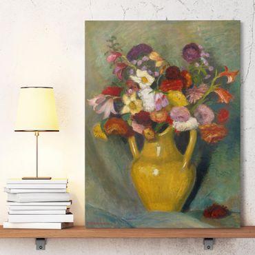 Leinwandbild - Otto Modersohn - Bunter Blumenstrauß in gelbem Tonkrug - Hoch 3:4