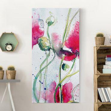 Leinwandbild - Painted Poppies - Hoch 1:2