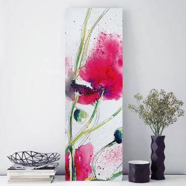Leinwandbild - Painted Poppies - Panorama Hoch