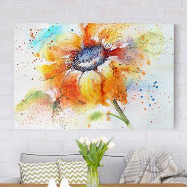 Leinwandbild - Painted Sunflower - Quer 3:2