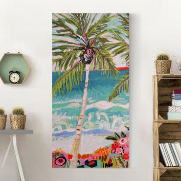 Leinwandbild - Palme mit pinken Blumen I - Hochformat 2:1