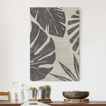 Leinwandbild - Palmenblätter vor Hellgrau - Hochformat 3:2