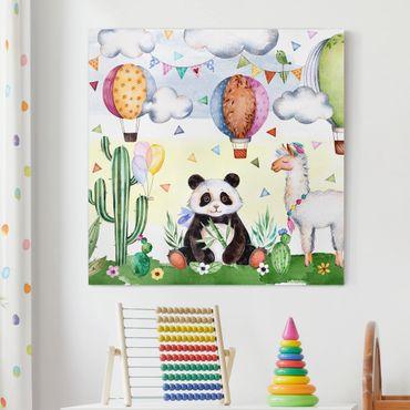 Leinwandbild - Panda und Lama Aquarell - Quadrat 1:1