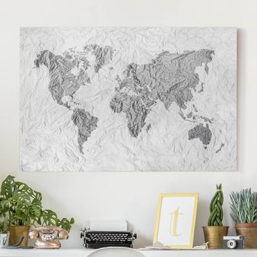 Leinwandbild Schwarz-Weiß - Papier Weltkarte Weiß Grau - Quer 3:2