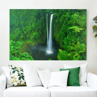Leinwandbild - Paradiesischer Wasserfall - Quer 3:2