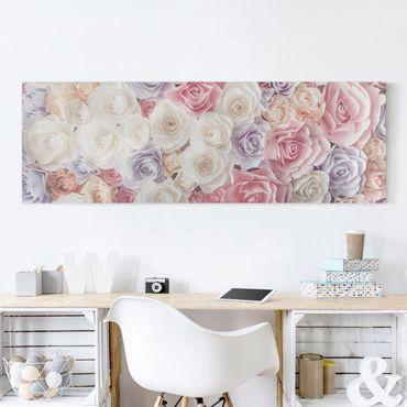 Leinwandbild - Pastell Paper Art Rosen - Panorama Quer