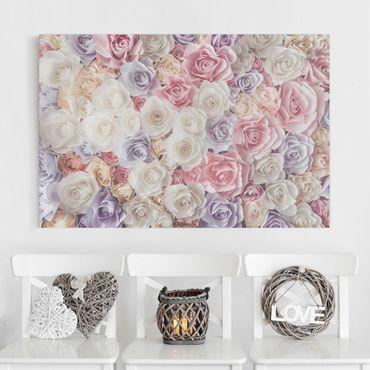 Leinwandbild - Pastell Paper Art Rosen - Quer 3:2