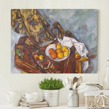 Leinwandbild - Paul Cézanne - Stillleben mit Früchten vor einem blumengemusterten Vorhang - Quer 4:3