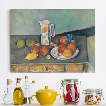 Leinwandbild - Paul Cézanne - Stillleben mit Milchkrug und Früchten auf einem Tisch - Quer 4:3