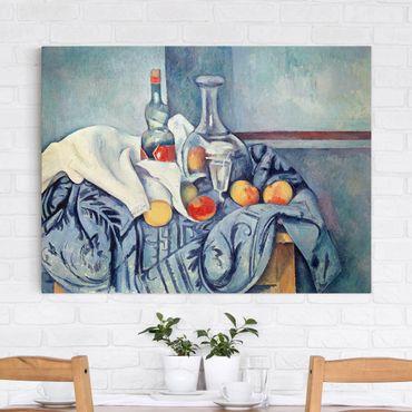 Leinwandbild - Paul Cézanne - Stillleben mit Pfirsichen und Flaschen - Quer 4:3