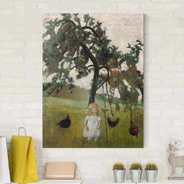 Leinwandbild - Paula Modersohn-Becker - Elsbeth mit Hühnern unter Apfelbaum - Hoch 3:4