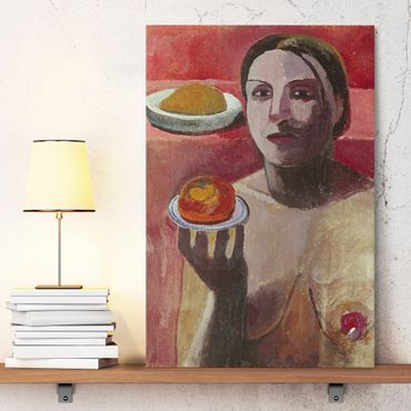 Leinwandbild - Paula Modersohn-Becker - Halbakt einer Italienerin mit Teller - Hoch 2:3